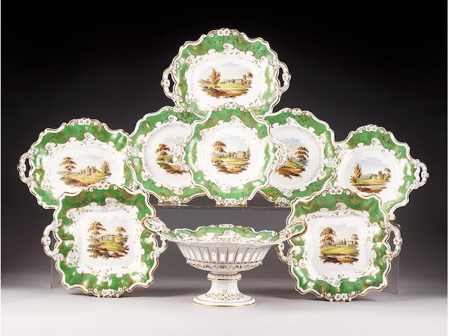 A Ridgway porcelain dessert service, circa 1830,