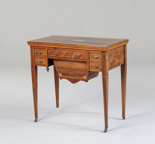 An Edwardian rosewood and inlaid card table / work table