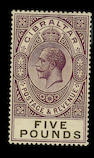 Gibraltar: 1925-32 Script £5 violet and black, fine mint. S.G. £1300.