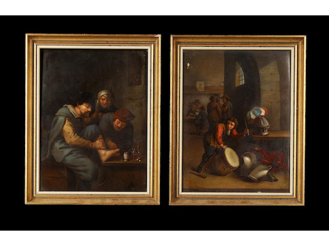 A pair of framed KPM Berlin plaques, mid 19th century, after Teniers,