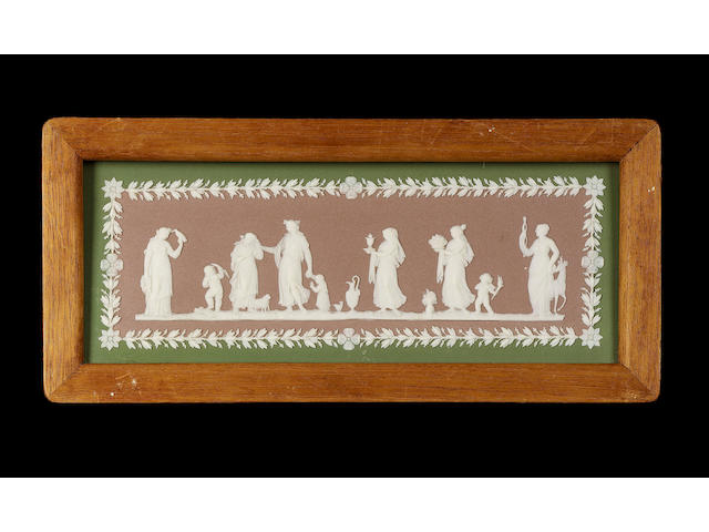 A framed Wedgwood tri-colour jasper plaque, mid 19th century,