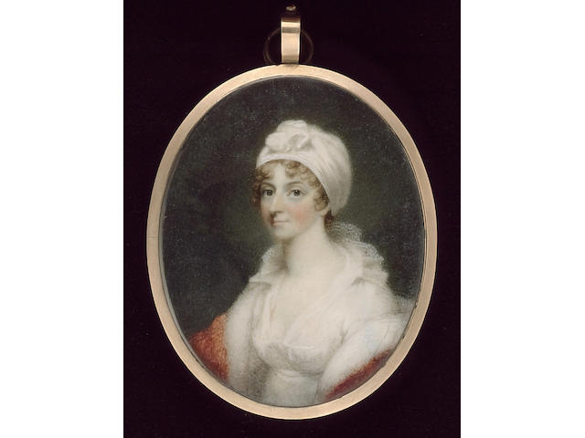 John Wright, A Lady, wearing white dress with frilled collar, red shawl and white turban