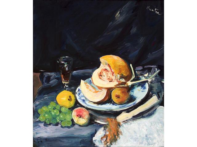 George Leslie Hunter (1877-1931) Still life of cut melon, glass and fan 49 x 43cm (19 x 17ins)