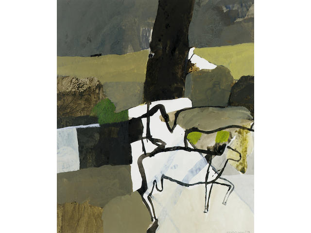 Keith Vaughan (1912-1977) Landscape with Animals 49.5 x 42 cm. (19 1/2 x 16 1/2 in.)