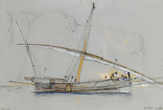 John Frederick Lewis R.A., P.O.W.S. (British, 1805-1876) A felucca off Gibraltar 17.5 x 25.5 cm. (7 x 10 in.)