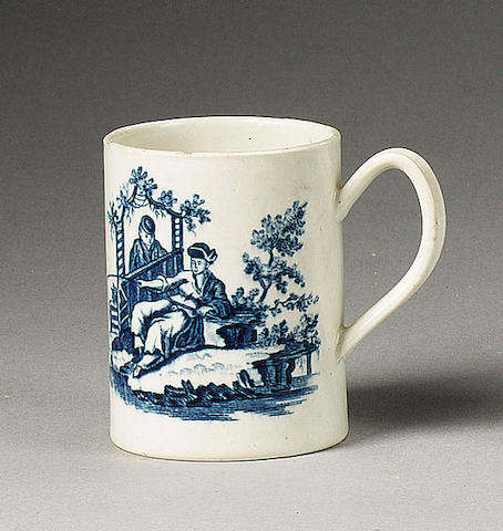 A Worcester 'Le Peche and 'La Promenade Chinoise' cylindrical mug, circa 1775,