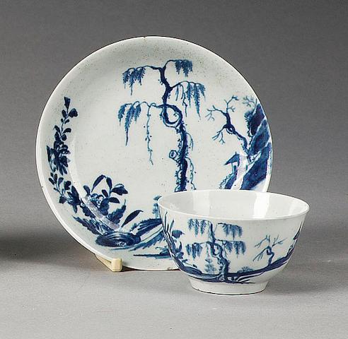 A Worcester 'Landslip' teabowl and saucer, circa 1760,