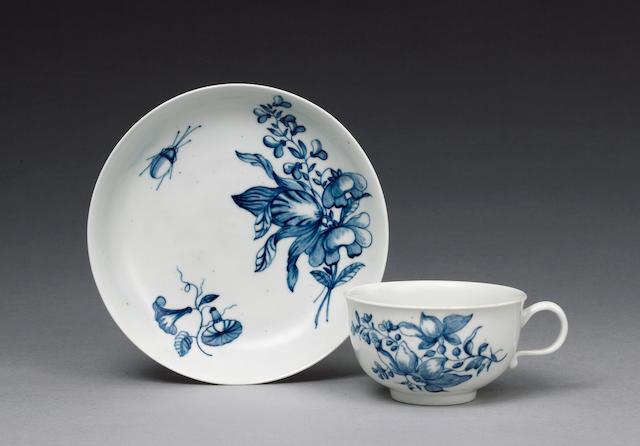 A very rare Worcester teacup and saucer circa 1757