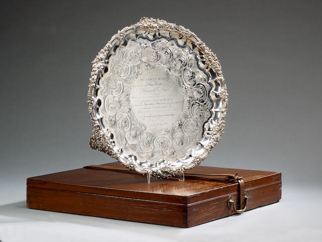 A Lloyds Presentation Silver Salver 1828, 48cm (19 in ) diameter, 96 oz