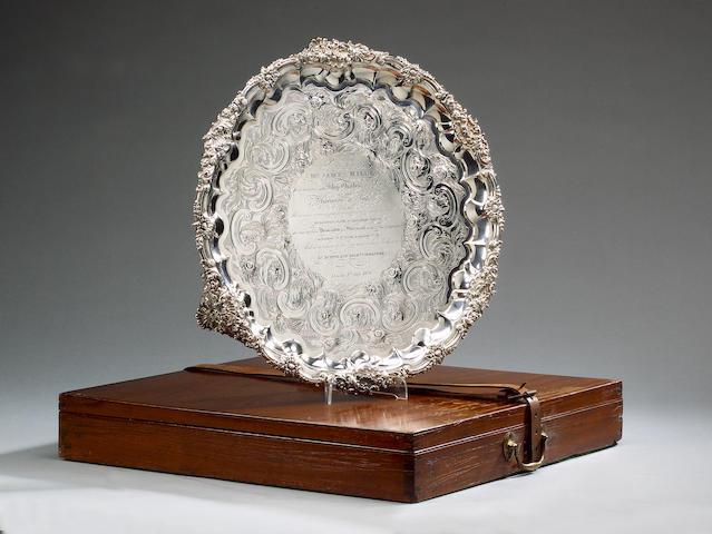 A Lloyds Presentation Silver Salver 1828, 48cm (19 in ) diameter, 96 oz