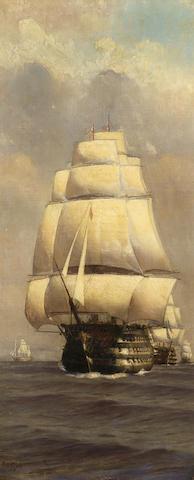 "Alma Claude Burton Cull (British 1880-1931) H.M.S. ""Victory"" leading the fleet into immortality; each 51 x 21.5 cm. (20 x 8 1/2 in.) (2)"