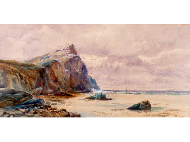 R Gallo Seascape with Rocky Outcrop 33cm x 46cm.
