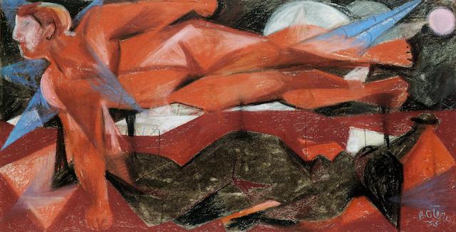 Fernando Botero (b.1932) El Angel desnudo 44.5 x 89 cm. (17 1/2 x 35 in.)