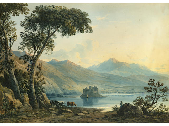 John Varley O.W.S. (British, 1778-1842) Kilchurn Castle on Loch Awe, Argyllshire 37 x 51.5 cm. (14 1/2 x 20 1/4 in.)