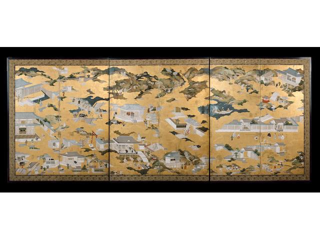 A six-leaf 'Rakuchu rakugai' screen
