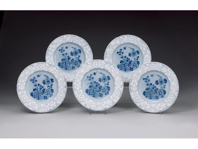 A set of twelve Bristol (probably Redcliff Back) delft plates circa 1760-70