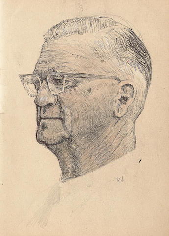 Ray Nestor (British, 1888-1989) A portrait of an unknown man overall size 31 x 22cm (12 x 8 3/4in)