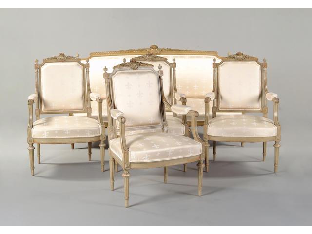 A Louis XVI style painted salon suite