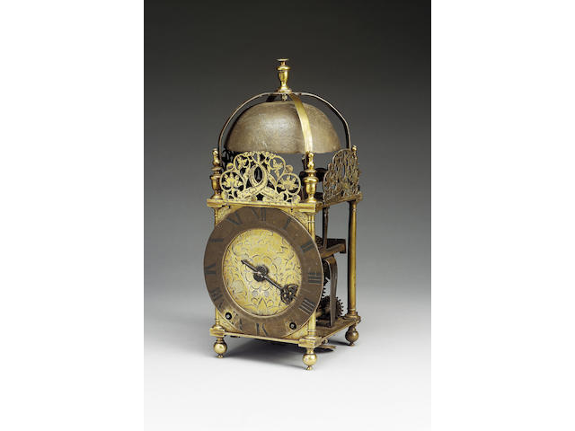 A fine and rare late 17th century lantern clock with barrel winding George Harris, Fritwell
