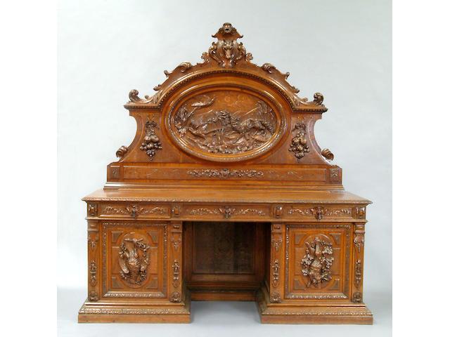 A large Victorian oak sideboard,