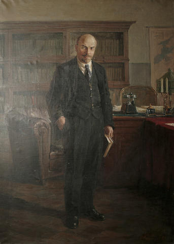 F.Kozobozov (Russian, 20th Century) Portrait of Lenin in Kremlin Office 136 x 185cm (53 1/2 x 73in)