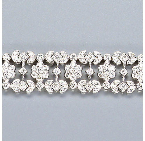 A diamond-set panel bracelet