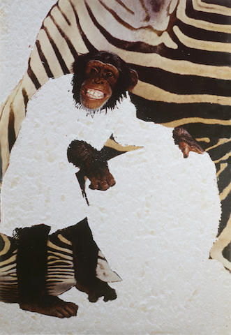 Angus Fairhurst (b. 1966) Chimp Bongos (all evidence of man removed) 1993 178 x 120.5 cm. (70 x 47 3