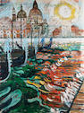 John Bratby R.A. (1928-1992) Sunburst over the Salute Basilica and gondolas 122 x 91.5 cm. (48 x 36