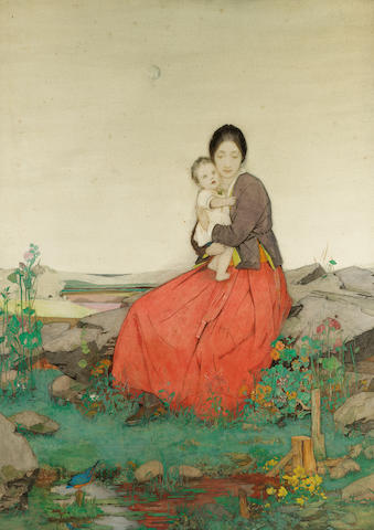 Dorothy Webster Hawksley R.I., (British, 1884-1970) Mother and child 101.6 x 73.6 cm. (40 x 29 in.)