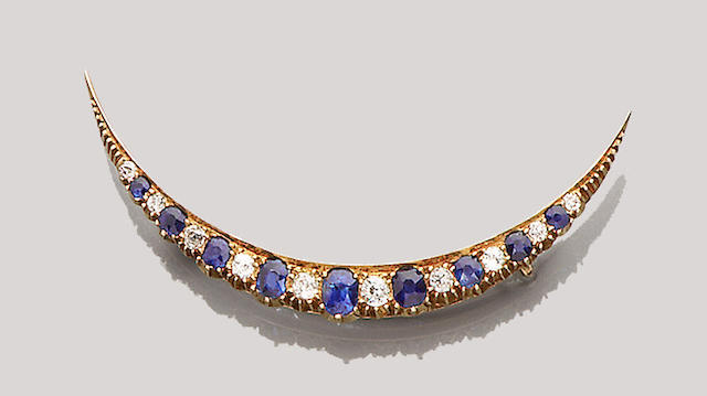 A late Victorian sapphire and diamond crescent brooch,
