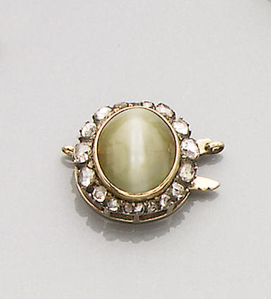 A 19th century chrysoberyl cat's-eye and diamond-set cluster clasp