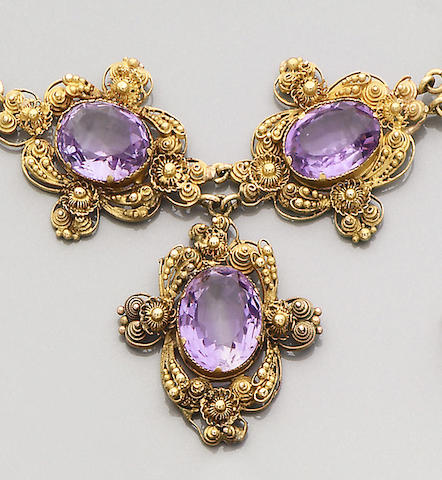 An amethyst-set necklace, circa 1830