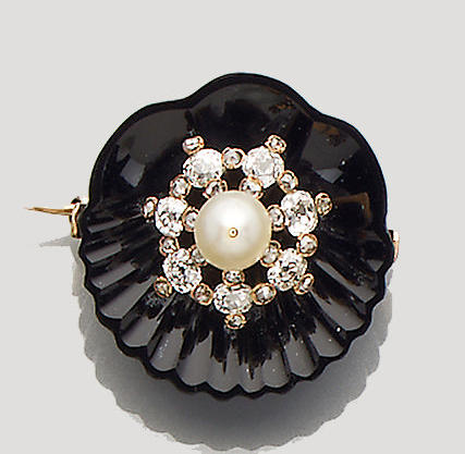 A 19th Century diamond, pearl and onyx brooch (2)