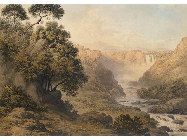 John Glover (British, 1767-1849) A waterfall in a moorland landscape 29 x 41 cm. (11 1/2 x 16 in.)
