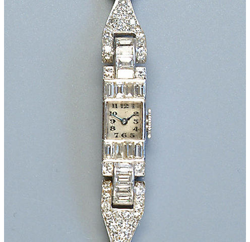 An early 20th century diamond wristwatch,
