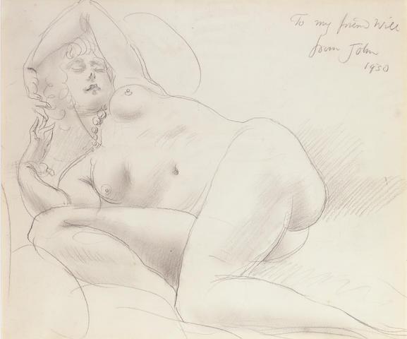Augustus John O.M., R.A. (1878-1961) Reclining nude 36 x 42.5 cm. (14 1/8 x 16 3/4 in.)