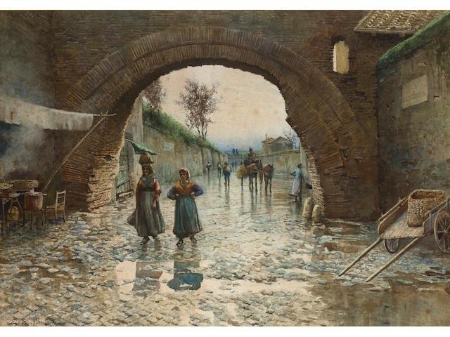 Ettore Roesler Franz (Italian, 1845-1907) Via Marmorata, Rome 53.3 x 76.2 cm. (21 x 30 in.)