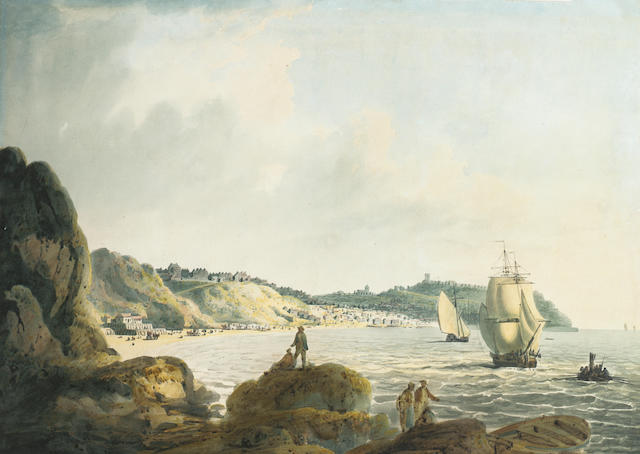 Francis Nicholson O.W.S. (British, 1753-1844) Scarborough from the Black Rocks 29.2 x 40.6 cm. (11 1