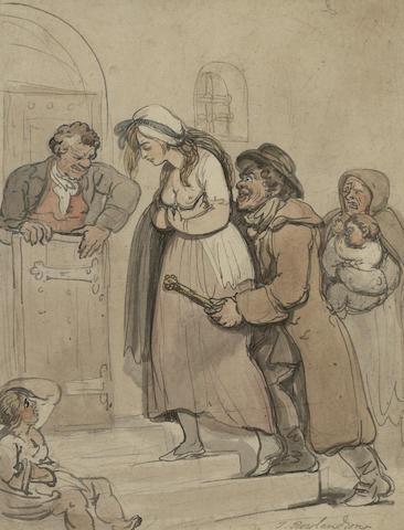 Thomas Rowlandson (British, 1756-1827) They took her away 30.5 x 23.5 cm. (12 x 9 1/4 in.)