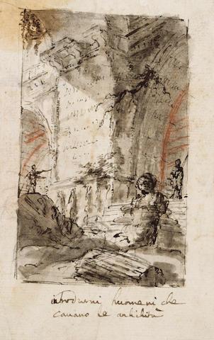 Giovanni-Battista Piranesi (Mozano di Mestre 1720-1778 Rome) Figures amid the ruins of a Roman basilica 16.5 x 10.5 cm. (6½ x 4¼ in.) unframed