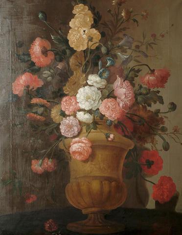 Continental School, circa 1900 An impressive still life of flowers in a marble urn, 88.7 x 69 cm (34 7/8 x