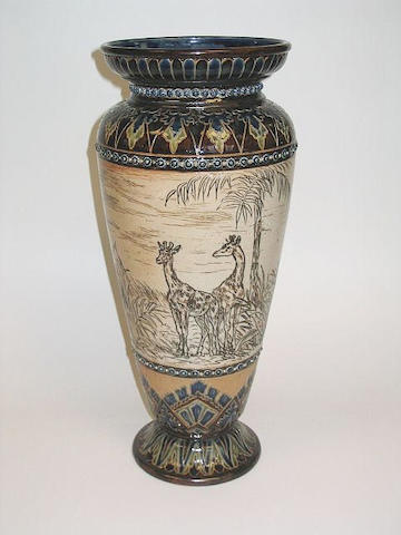 Hannah Barlow A Large Rare Doulton Lambeth Vase by Hannah Barlow with lions and giraffes