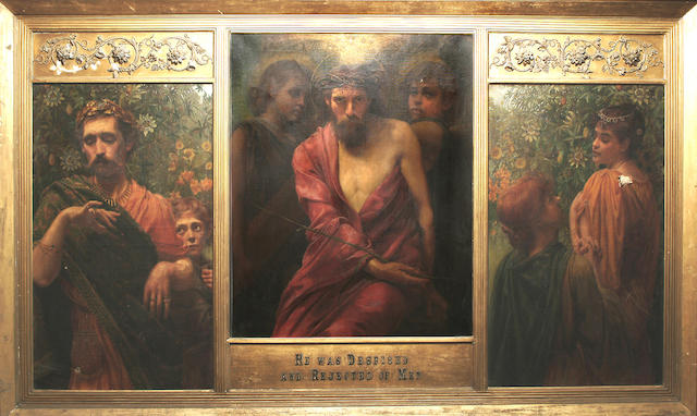 W. Savage Cooper (British, fl.1882-1903) 'He was despised and rejected of men', the central panel 99 x 79 cm (38 7/8 x 31 1/8 in), the side panels 99 x 58.5 cm (39 7/8 x 23 in)