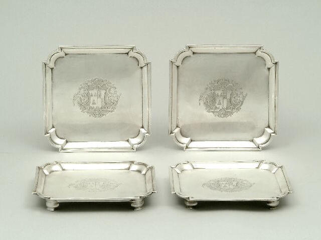 A set of four George II waiters By Edward Carnock, London 1731