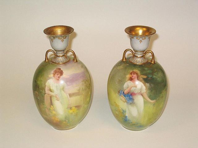 Burslem Items A Pair of Doulton Burslem Vases by Leslie Johnson