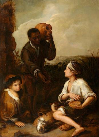 W. Long (mid 19th Century) after Bartolomé Esteban Murillo Three boys 91 x 66cm (36 x 26in).