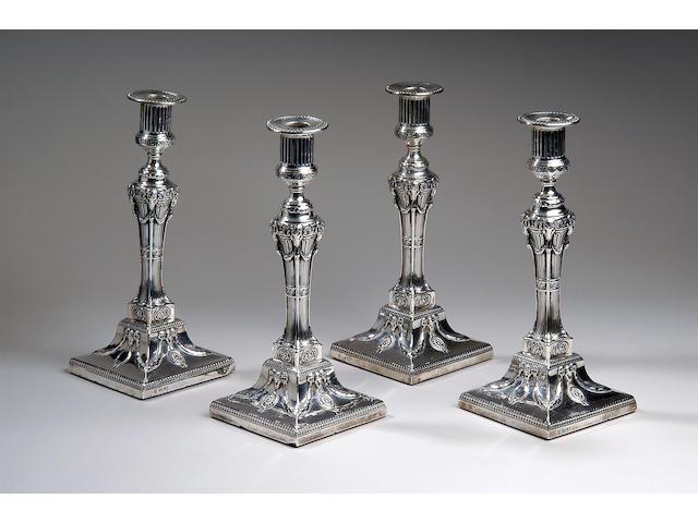 A set of four Victorian candlesticks,  London 1878,