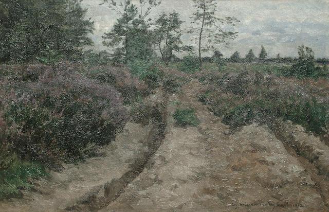 Franz van Leemputten (Belgium, 1850-1914) A country road, 30.5 x 45.5 cm (12 x 18 in.)