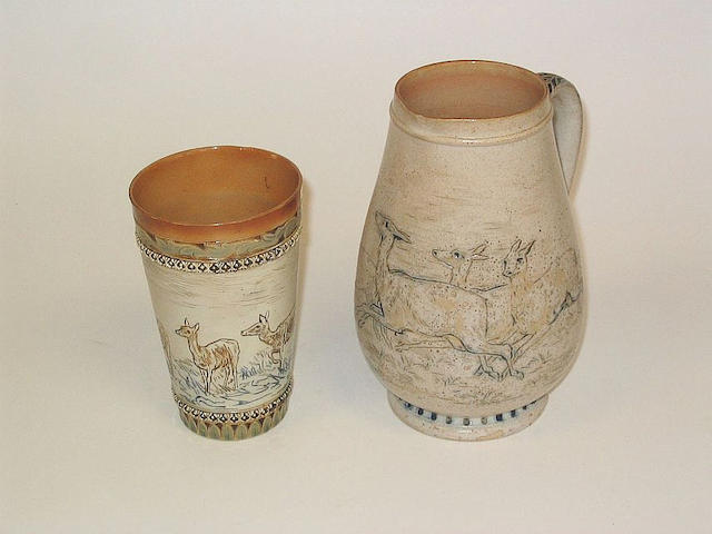 Hannah Barlow Hannah Barlow Jug and Beaker depicting deer (2)