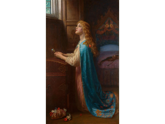 Arthur Hughes (British 1832-1915) Forget me not 108 x 64 cm. (42 1/2 x 25 1/4 in.)